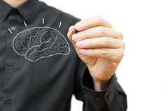 man drawing the brain
